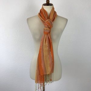 Chemistry New York Striped Metallic Scarf Flaw
